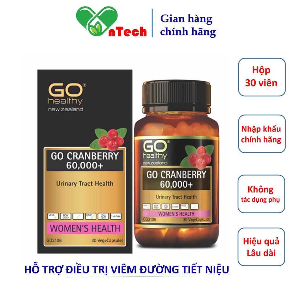Viên uống Go Healthy GO CRANBERRY 60000+ Hỗ trợ điều trị viêm đường tiết niệu viêm nhiễm phụ khoa nam khoa hộp 30 viên