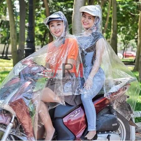 COMBO áo mưa trong suốt 2 đầu + 1 bạt phủ xe máy
