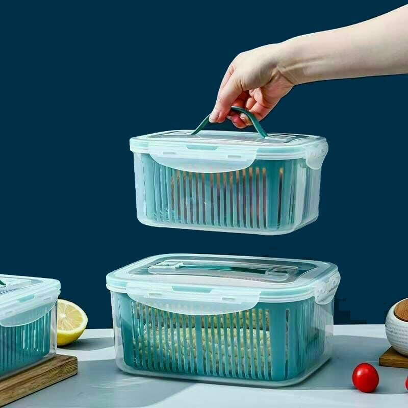 Sét 5 Hộp Đựng Thực Phẩm Có Nắp Đậy Cao Cấp - Khay Nhựa Để Tủ Lạnh Kèm Rổ  Ráo Nước Bảo Quản Thức Ăn Tiện Dụng - Hộp đựng thực phẩm   TienIchBep.com