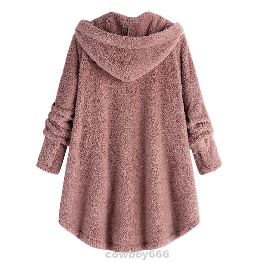Button Faux Fur Hooded Long Sleeve Outwear Women Coat