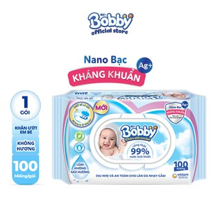 [Mã FMCGHOT giảm 10% đơn từ 400K] Khăn ướt Bobby không mùi 100 miếng (Xanh)