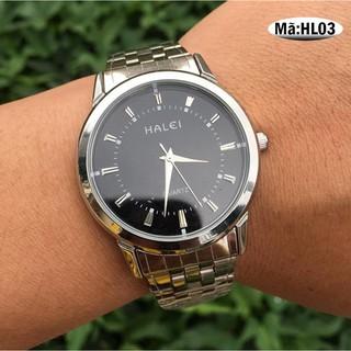 Freeship 99k TQ_Đồng hồ halei nam dây bạc cao cấp mặt đen kính chống xước