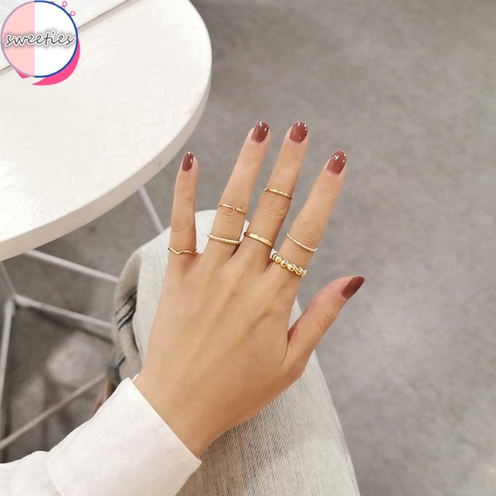 Bộ 7 nhẫn phong cách tối giản cổ điển dành cho nữ