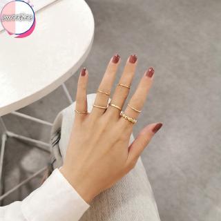 Yêu ThíchBộ 7 nhẫn phong cách tối giản cổ điển dành cho nữ