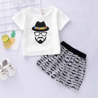 Set áo cổ tròn tay ngắn in hình + quần ngắn in hình râu dễ thương cho bé