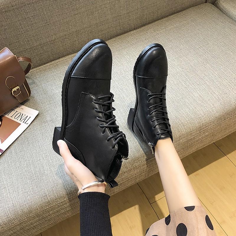 【จัดส่งฟรี】สั้นรองเท้าฤดูใบไม้ร่วงของผู้หญิงรองเท้ามาร์ตินขนาดเล็กรองเท้าลมอังกฤษ