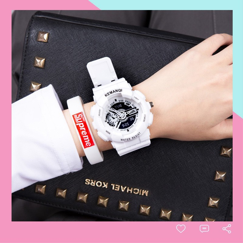 Đồng hồ nam nữ kim giả điện tử Fruitcat đeo tay dây cao cu bền đẹp thời trang DH108
