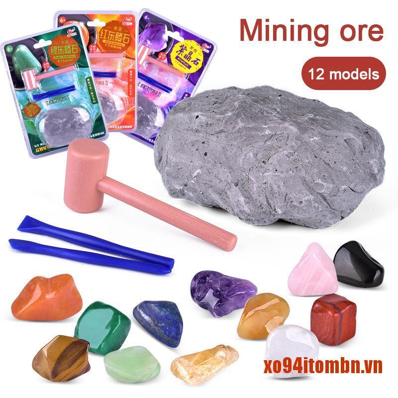 Bộ đồ chơi khai thác đá quý nhiều màu sắc dành cho trẻ em DIY