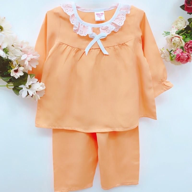 Quần áo trẻ em - bộ tole dài bé gái màu trơn size 14kg->17kg