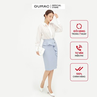 Chân Váy nữ bèo phối nút GUMAC màu xanh ôm body VB513