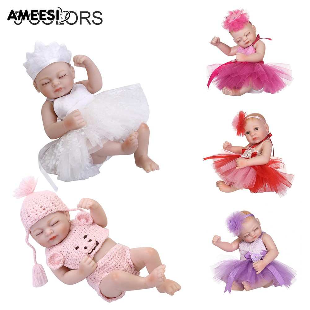 🔅🔆AMEESI  25cm Vinyl Reborn Baby Doll with Tutu Dress Accompany Toy