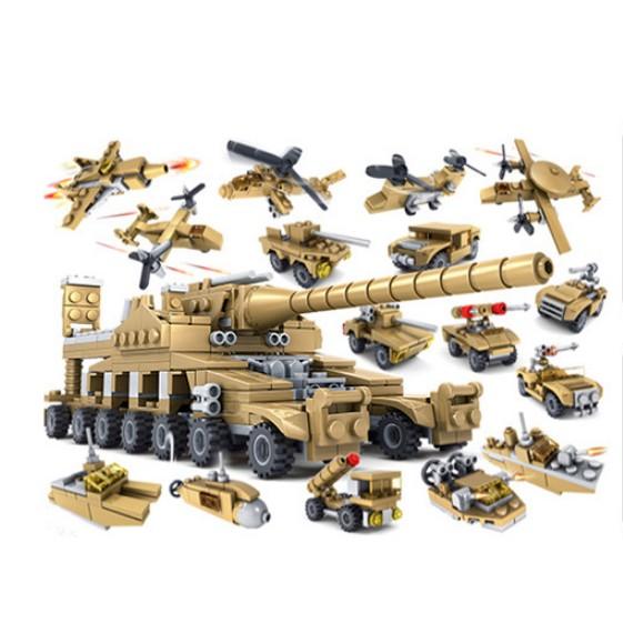 Bộ đồ chơi lắp ráp Kazi 16 in 1 Mô hình xe tăng