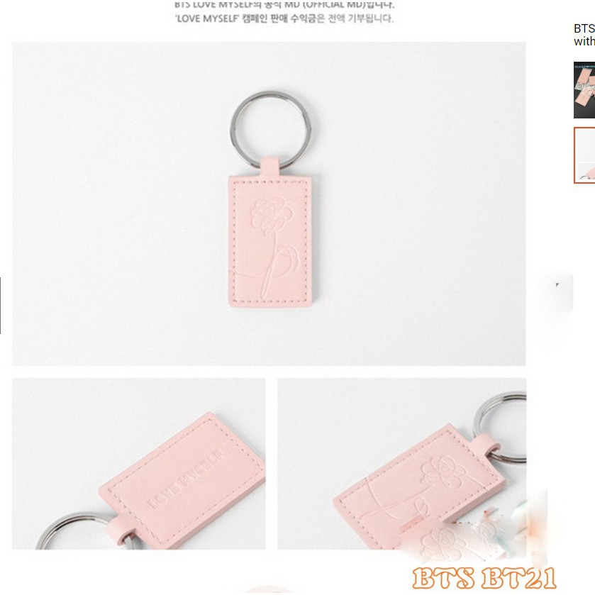 KPOP BT21-BTS keychain Key Chain with Love Myself Cute Pink Color