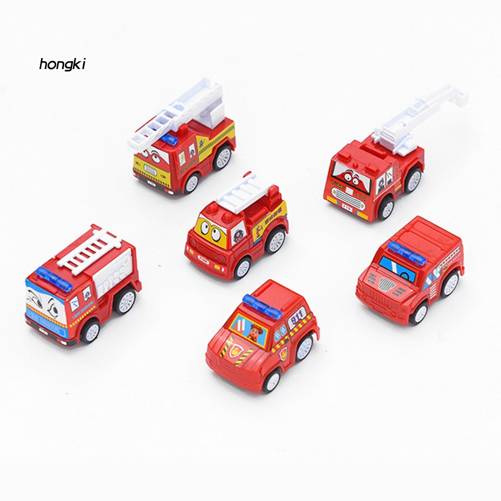 【HKM1】6Pcs Children Kids Mini Simulation Engineering Truck Fire Car Vehicle  Model Toy