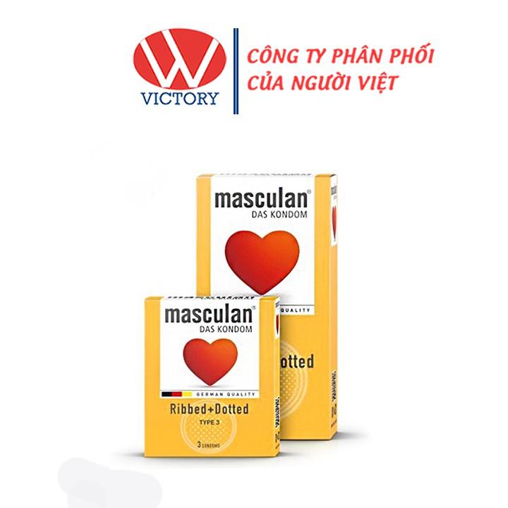 Bao Cao Su Masculan Ribbed + Dotted Type 3 (Masculan Vàng) - Gân + Chấm hạt - Victory Pharmacy