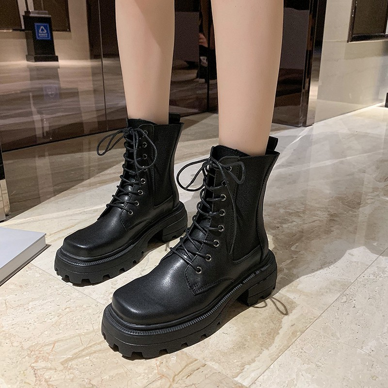 Giày Bốt Nữ Đế Dày Mũi Vuông Thời Trang Hè 2020