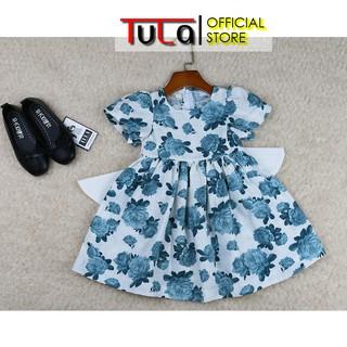 Váy Đầm Bé Gái Bồng Xòe Nơ Sau Cực Xinh Vải Linen Hàn Quốc