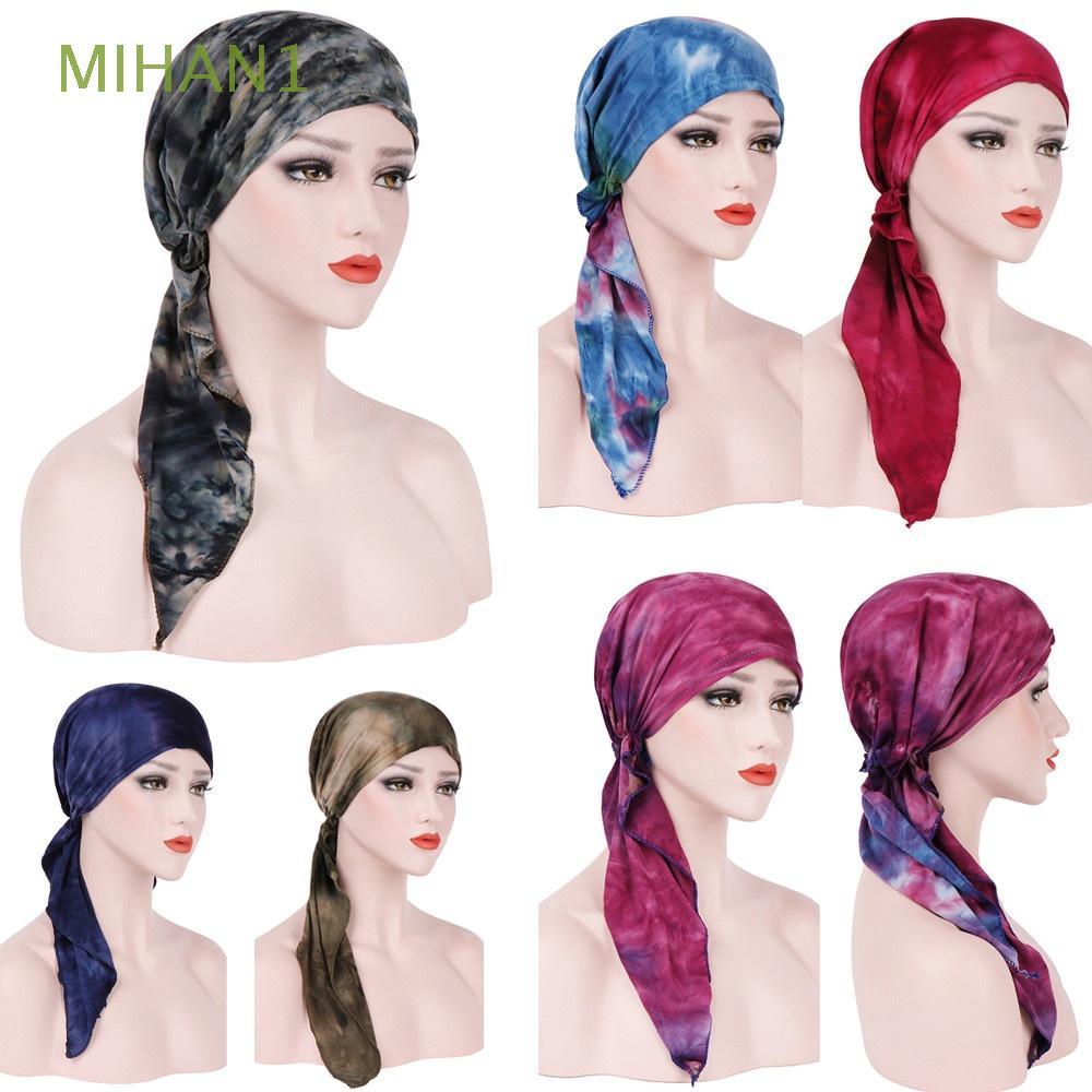 MIHAN1 Women Chemo Cancer Head Wrap Cotton Tie-dye Muslim Scarf