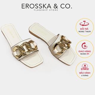 Dép quai xích thời trang Erosska mũi vuông siêu sang chảnh màu trắng - DE038