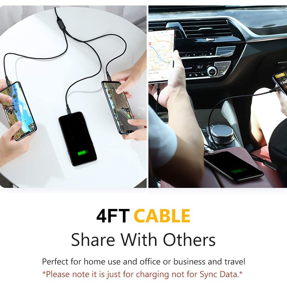 Cáp Sạc Sgalas 3 Trong 1 Cho Apple Lightning Android USB Type-C 1.2m