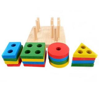 Đồ chơi giáo dục sớm Xếp gỗ toán học thông minh cho bé montessori