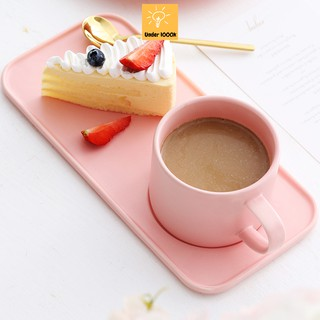Set cốc sứ macaron gồm cốc uống trà kèm đĩa chữ nhật - phụ kiện bàn ăn xinh xắn thumbnail