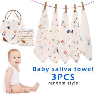 ZX 3 Pcs Handkerchief Saliva Towel Printing Soft Cotton for Children Baby Feeding @VN