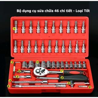 [LOẠI TỐT] Bộ dụng cụ mở bu lông ốc vít, sửa chữa ô tô xe máy đa năng 46 chi tiết