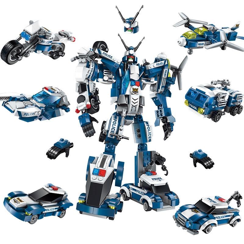 Bộ xếp hình đồ chơi lắp ráp  mô hình siêu nhân robot từ khủng long xanh trí tuệ 6 trong 1 cho bé thích khám phá