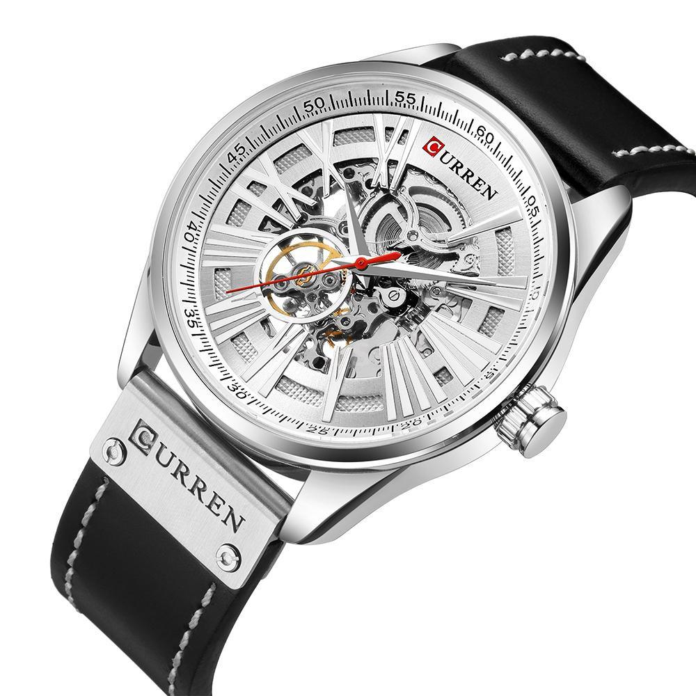 TOPVN  CURREN 8299 Men Watch Brand Mechanical Tourbillon Watch Wristwatch Calendar Leather Automatic