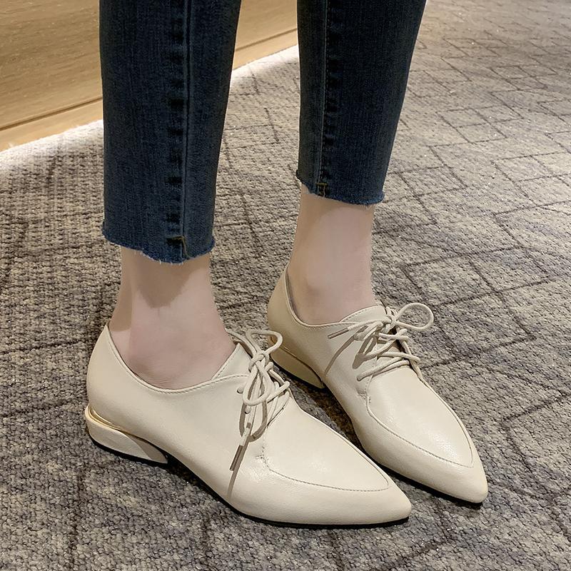 Giày Bệt Nữ Derby Mũi Nhọn Kiểu Anh Xinh Xắn