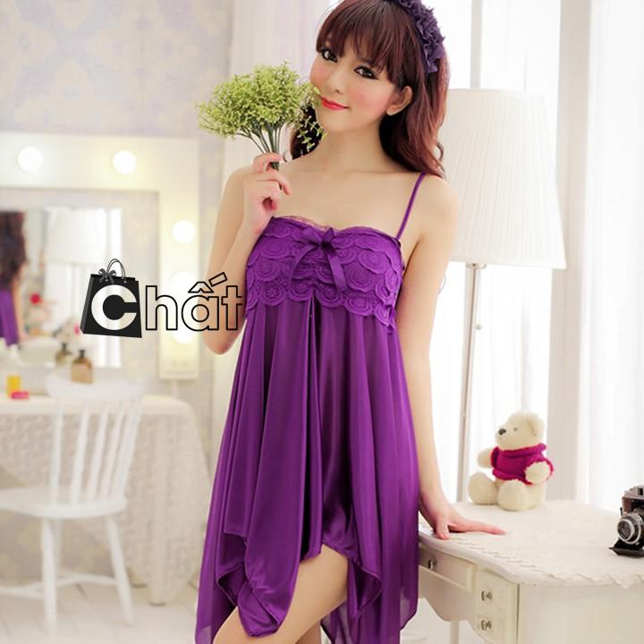 Đầm Ngủ 2 Dây Phi Ren