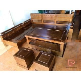Bộ sofa góc hiện đại gỗ sồi mặt liền màu óc chó