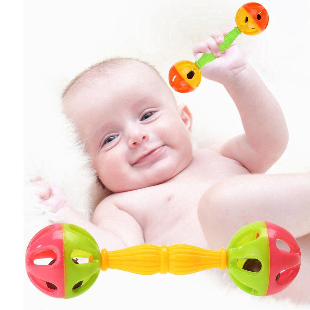 Baby Newborns Color Toys Rattles Bells Early Educational Shaking Dumbbells Toys