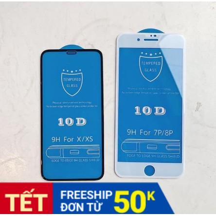 [siêu rẻ]Kính cường lực iphone 10D full màn - mua 5 cái giảm 5k - tặng 05 bao lì xì tết - freeship đơn từ 50k