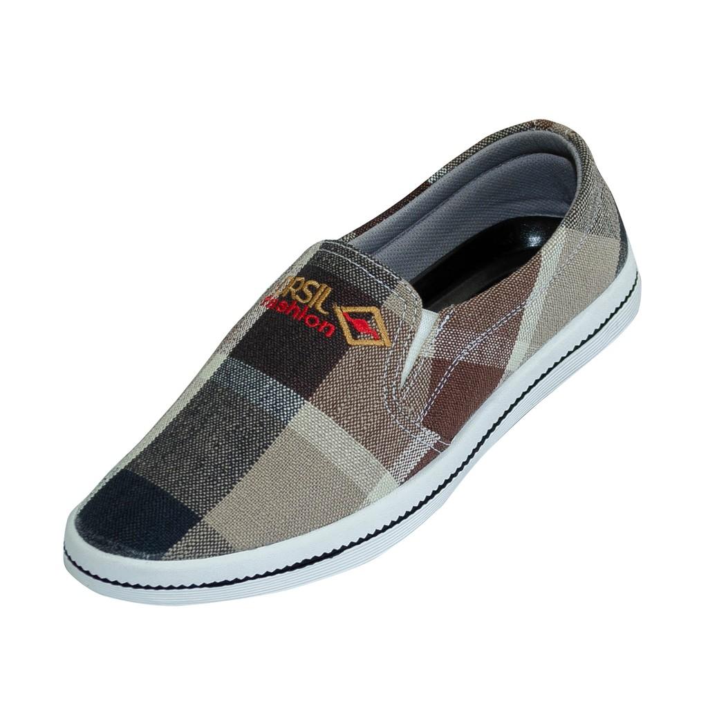 Giày lười vải nam ORSIL họa tiết caro trẻ trung - L12
