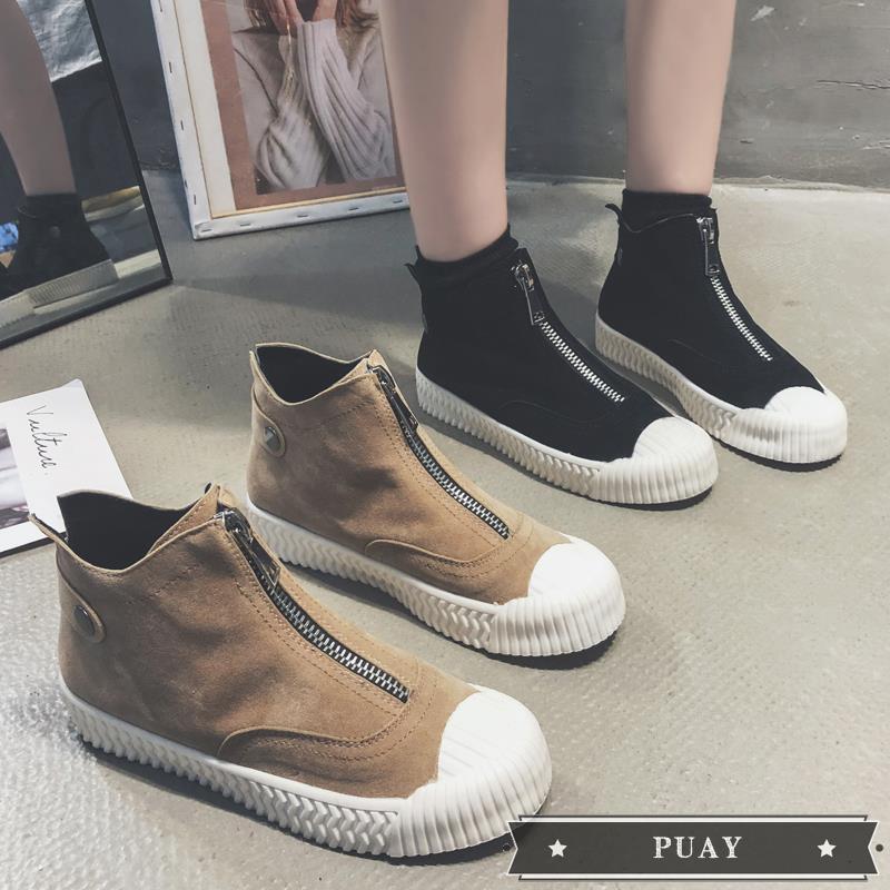 &Black Martin boots female 2019 new autumn British wind front zipper short boots net red retro shell head short boots #