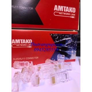 Hạt mạng RG45 chính hãng AMTAKO chân đồng(100 chiếc)