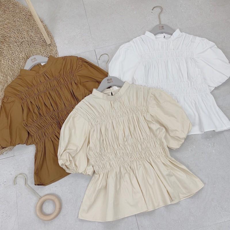 ÁO SƠMI PEPLUM ZÚM,áo kiểu nữ