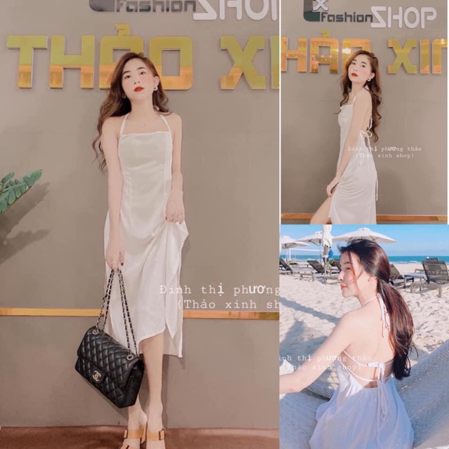 V473 Đầm Maxi Trắng Hở Lưng , Váy 2 Dây Đi Biển Sang Chảnh , Chất Đũi Nhăn Nhật Loại 1