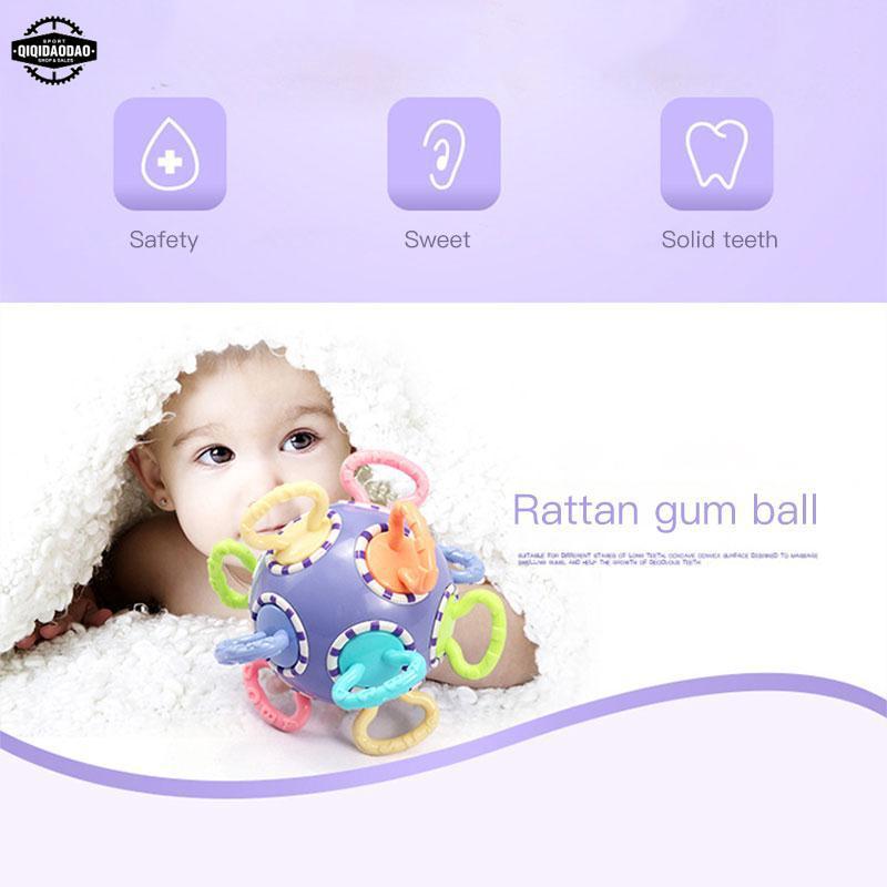 Soft Plastic Baby Hand Grasp Bell Ball Grinding Teeth Toys Developmental