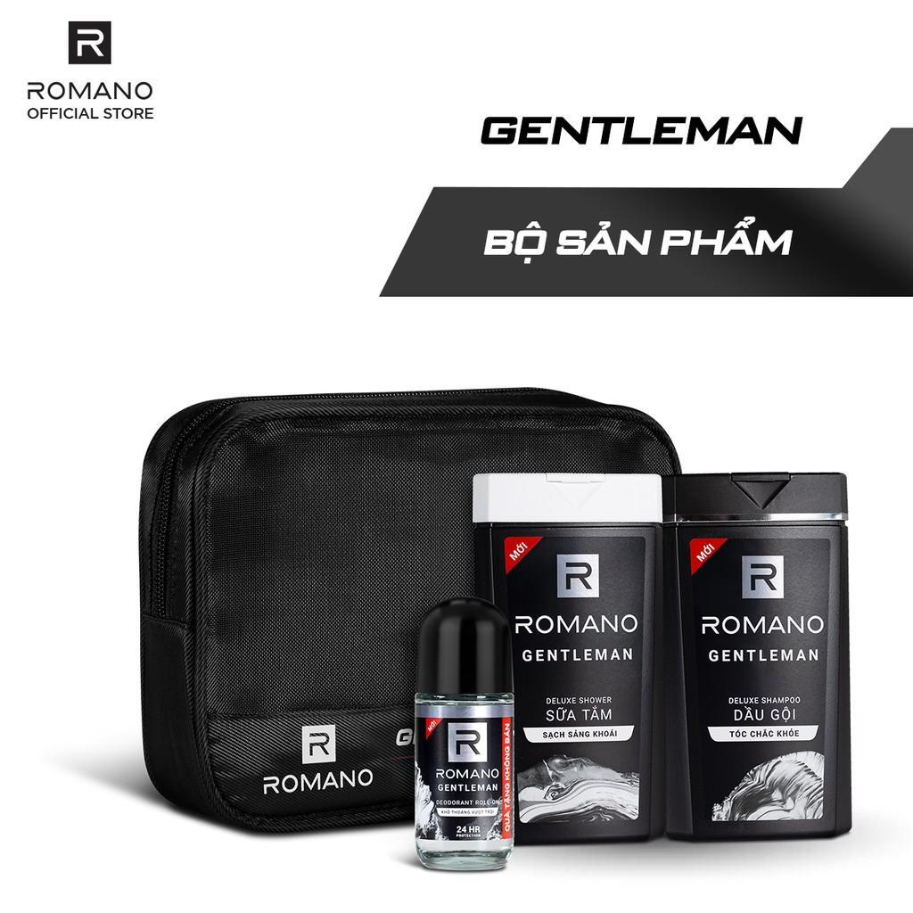 Bộ sản phẩm Romano Gentleman (dầu gội 150g + sữa tắm 150g + lăn khử mùi 25ml)