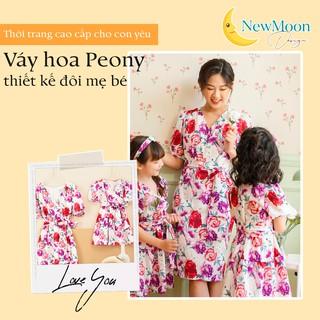 Váy thiết kế đôi mẹ và bé, váy hoa Peony chất lụa cao cấp, tay bồng ngực vạt chéo