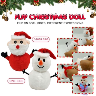 Santa Claus Doll Double-sided Flip Father Christmas Snowman Plush Doll Xmas Christmas Decor Kid Toy Gift