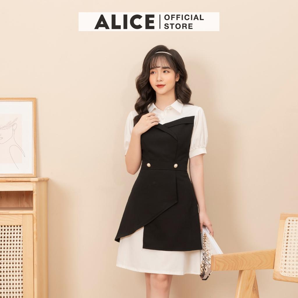 Mặc gì đẹp: Sang trọng với Váy Công Sở Chữ A Nữ ALICE Thiết Kế Cổ Sơ Mi Chân Váy Vạt Chéo Sang Đính Ngọc Thanh Lịch V703