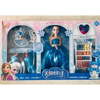 Bộ Búp Bê Elsa cùng phụ kiện ( Tủ giày + vương miện + set trang phục)