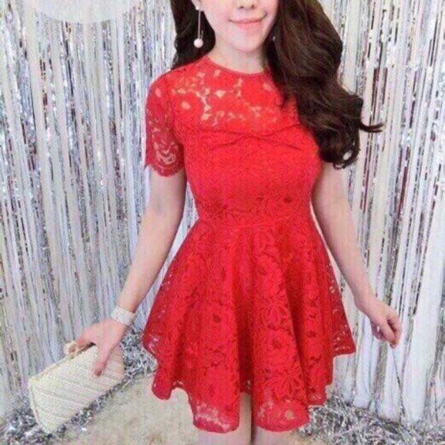 Đầm xoè ren đỏ đen và ảnh thật