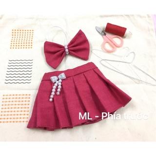 Đầm kèm nơ – Outfit cho doll 20cm
