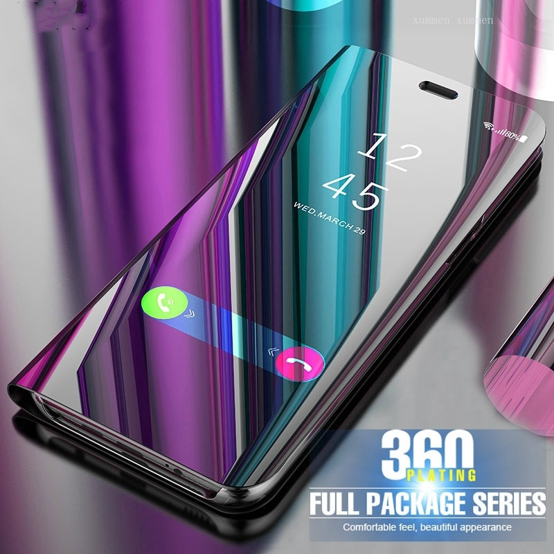 [oppo smart view] Trend: OPPO A15 A12 A15s A93 A53 A33 2020 A52 A92 Mirror Surface Phone Case Clear View Smart Auto Sleep Leather Hard Flip Cover Fashion Casing Stand Holder …
