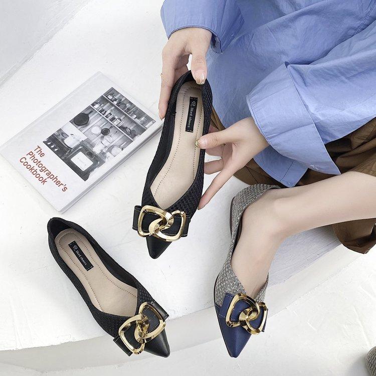 Giày búp bê mũi nhọn gắn nơ thời trang xinh xắn cho nữ